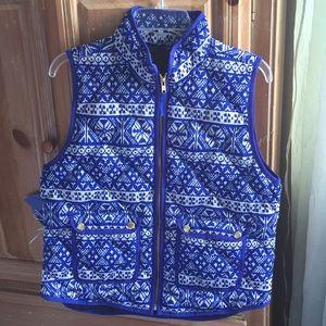 J CREW Blue Fair Isle Down Vest